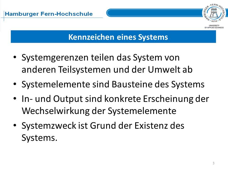 Systemgerenzen teilen das System von anderen Teilsystemen und der Umwelt ab Systemelemente sind Bausteine des Systems In- und Output sind konkrete Ers