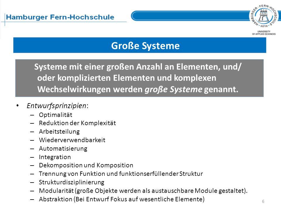 Entwurfsprinzipien: – Optimalität – Reduktion der Komplexität – Arbeitsteilung – Wiederverwendbarkeit – Automatisierung – Integration – Dekomposition