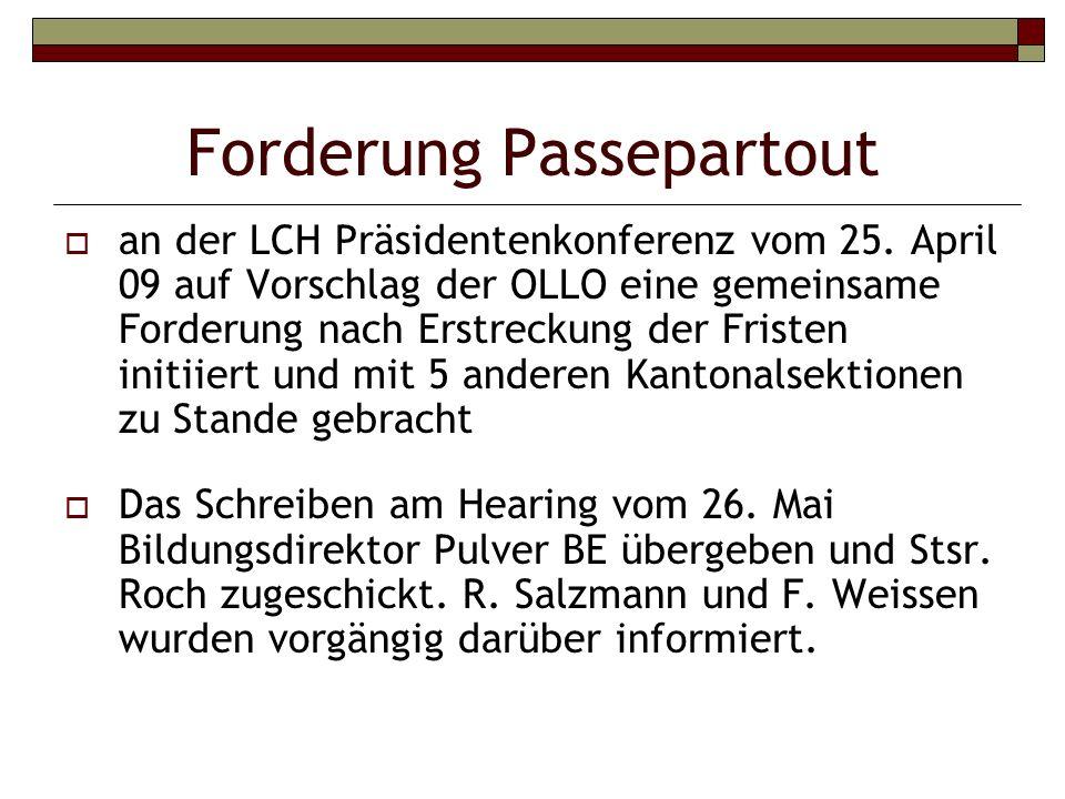 Forderung Passepartout an der LCH Präsidentenkonferenz vom 25.