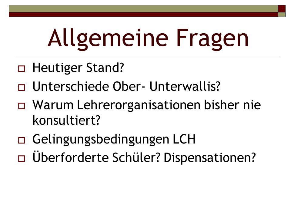Allgemeine Fragen Heutiger Stand. Unterschiede Ober- Unterwallis.