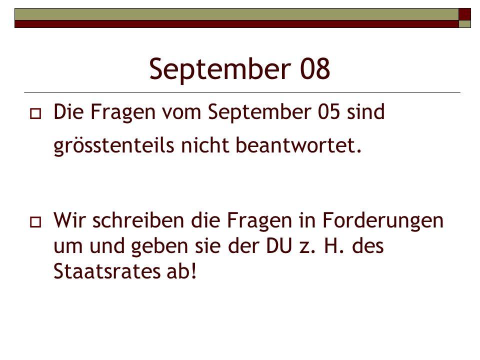 September 08 Die Fragen vom September 05 sind grösstenteils nicht beantwortet.