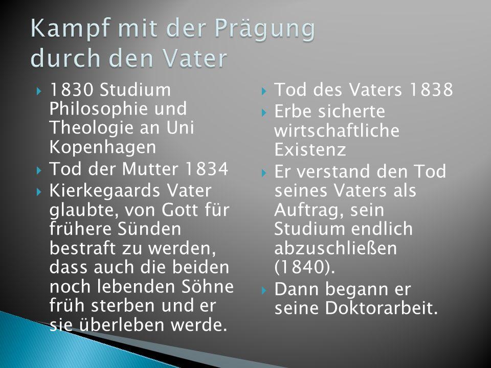 1830 Studium Philosophie und Theologie an Uni Kopenhagen Tod der Mutter 1834 Kierkegaards Vater glaubte, von Gott für frühere Sünden bestraft zu werde