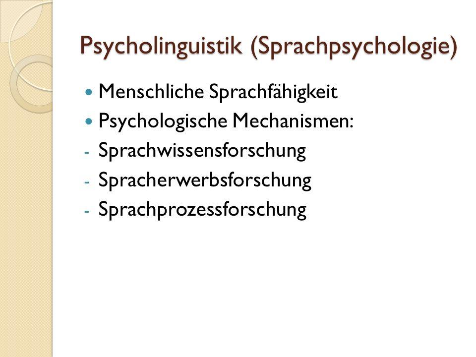 Psycholinguistik (Sprachpsychologie) Menschliche Sprachfähigkeit Psychologische Mechanismen: - Sprachwissensforschung - Spracherwerbsforschung - Sprachprozessforschung