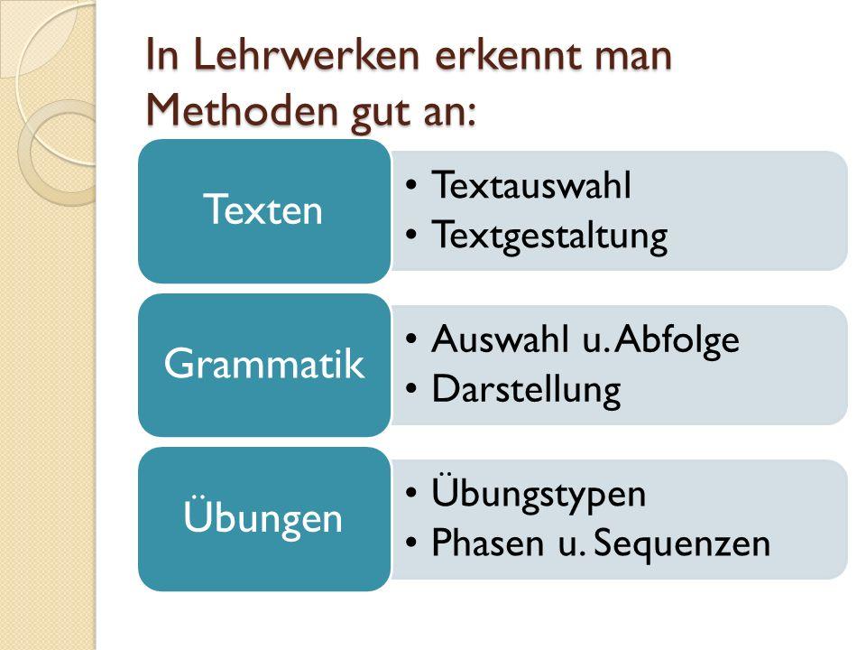 In Lehrwerken erkennt man Methoden gut an: Textauswahl Textgestaltung Texten Auswahl u.
