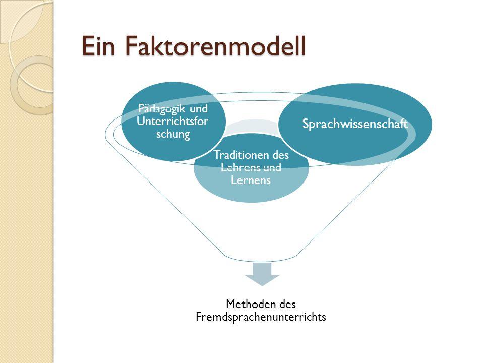 Ein Faktorenmodell Methoden des Fremdsprachenunterrichts Traditionen des Lehrens und Lernens Pädagogik und Unterrichtsfor schung Sprachwissenschaft