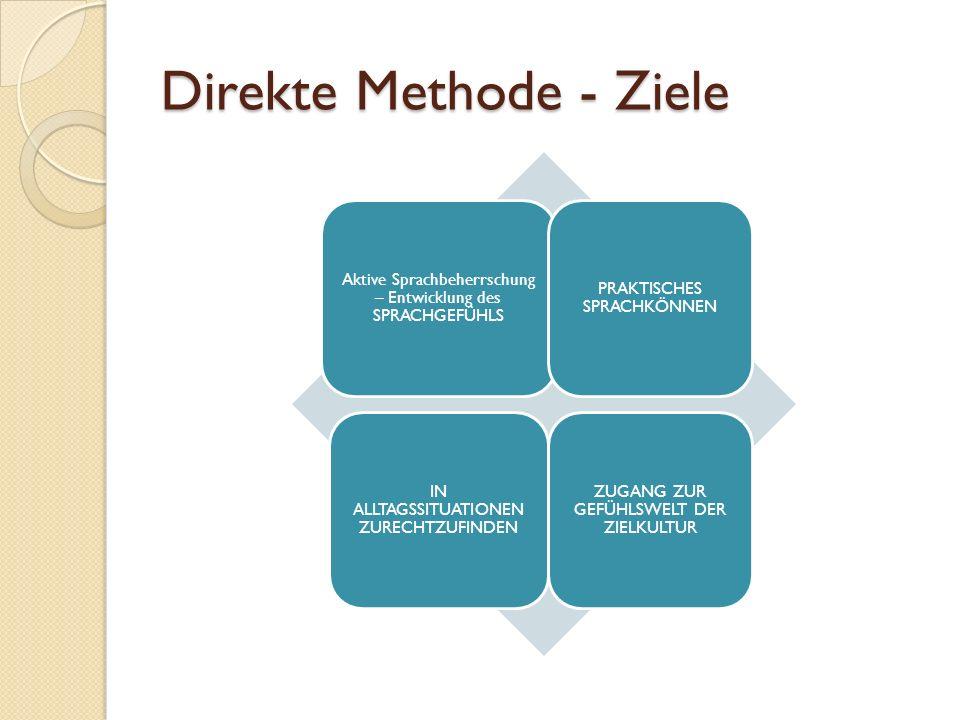 Direkte Methode - Ziele Aktive Sprachbeherrschung – Entwicklung des SPRACHGEFÜHLS PRAKTISCHES SPRACHKÖNNEN IN ALLTAGSSITUATIONEN ZURECHTZUFINDEN ZUGANG ZUR GEFÜHLSWELT DER ZIELKULTUR