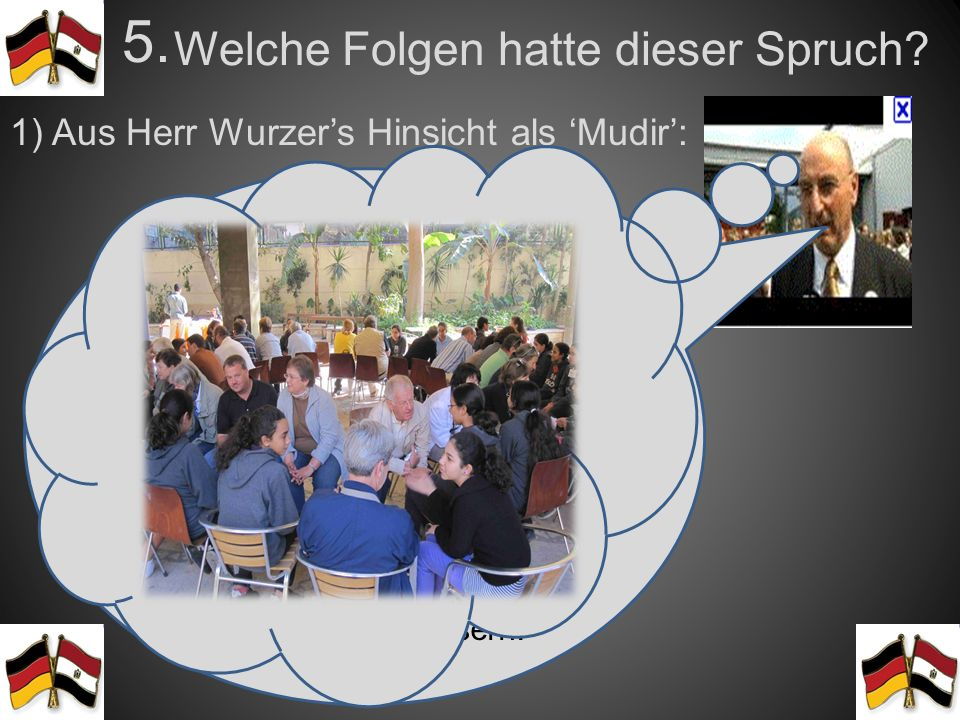 Deutsch an den D-Tagen? 4. Herr Wurzers Meinung: Es ist für die Sprachentwicklung der Schülerinnen gut, mehr Deutsch zu sprechen. Diese Initiative ist