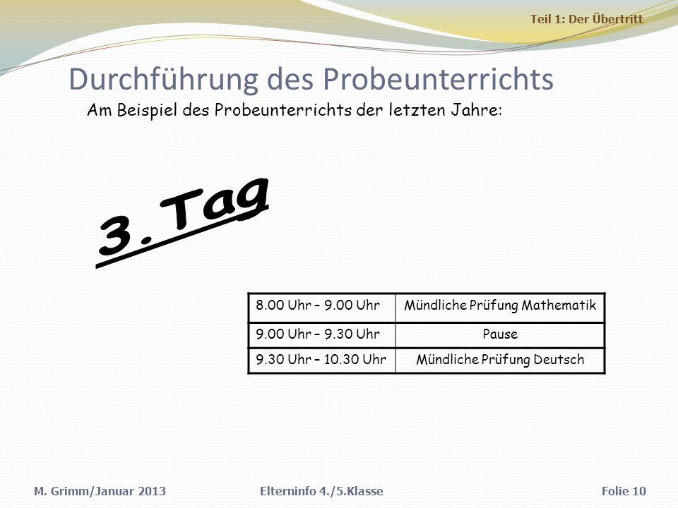 M. Grimm/Januar 2013 Durchführung des Probeunterrichts Elterninfo 4./5.KlasseFolie 10 Am Beispiel des Probeunterrichts der letzten Jahre: 8.00 Uhr – 9
