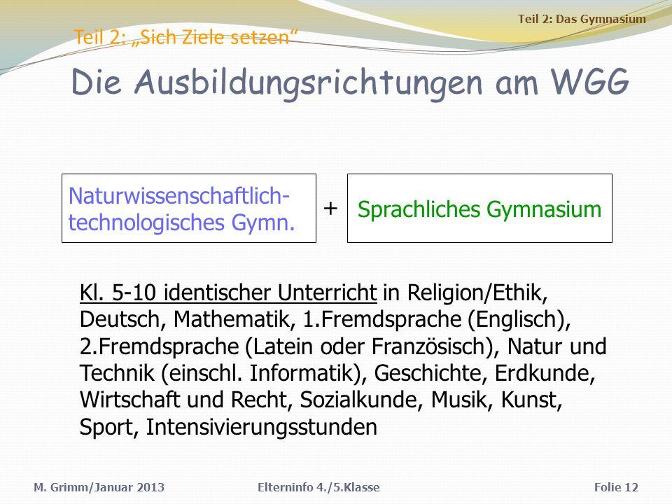 M. Grimm/Januar 2013Elterninfo 4./5.KlasseFolie 12 Teil 2: Sich Ziele setzen Naturwissenschaftlich- technologisches Gymn. Sprachliches Gymnasium + Kl.