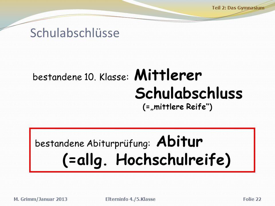M.Grimm/Januar 2013Elterninfo 4./5.KlasseFolie 22 Schulabschlüsse bestandene 10.