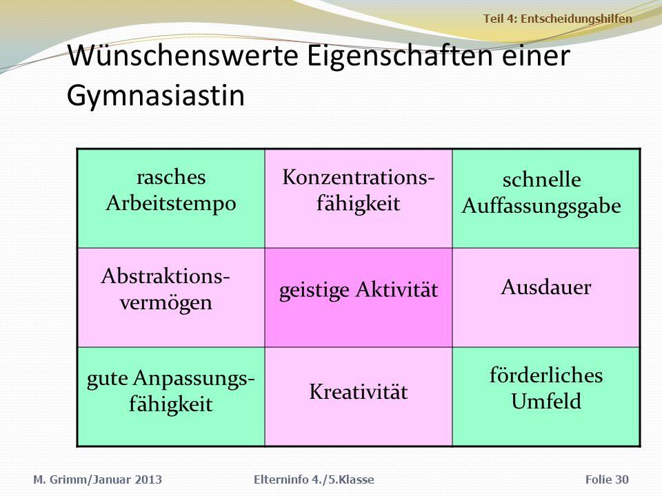 Wünschenswerte Eigenschaften einer Gymnasiastin M.