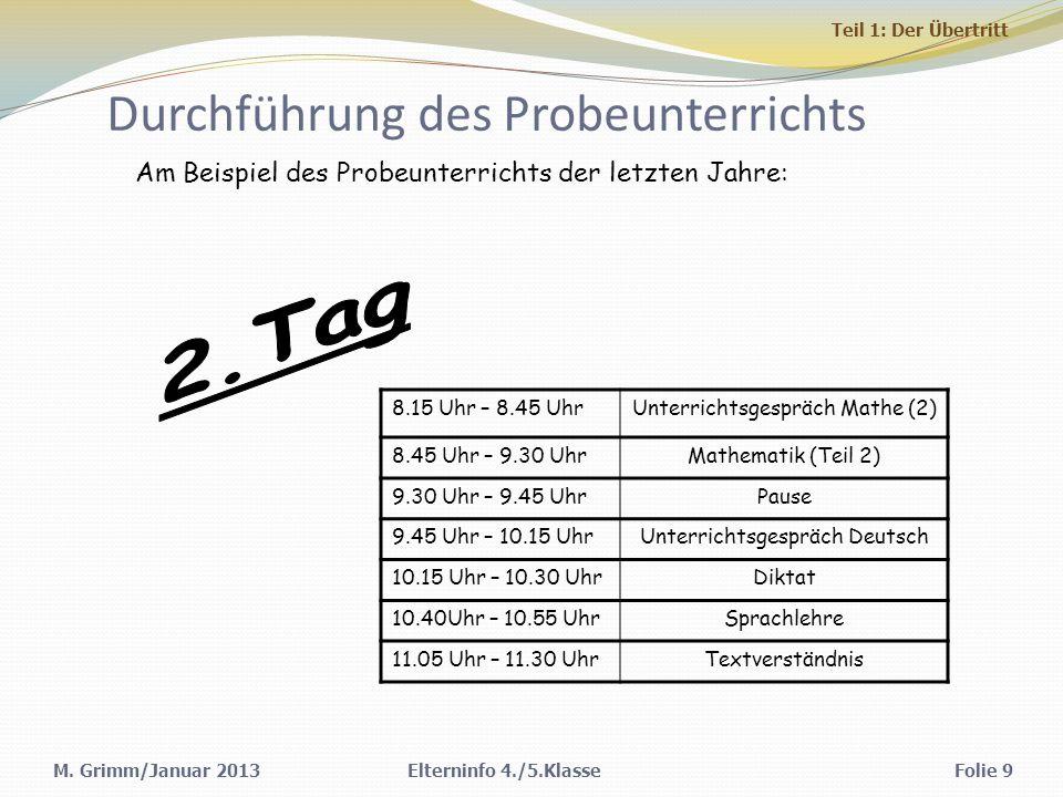 M. Grimm/Januar 2013 Durchführung des Probeunterrichts 8.15 Uhr – 8.45 UhrUnterrichtsgespräch Mathe (2) 8.45 Uhr – 9.30 UhrMathematik (Teil 2) 9.30 Uh