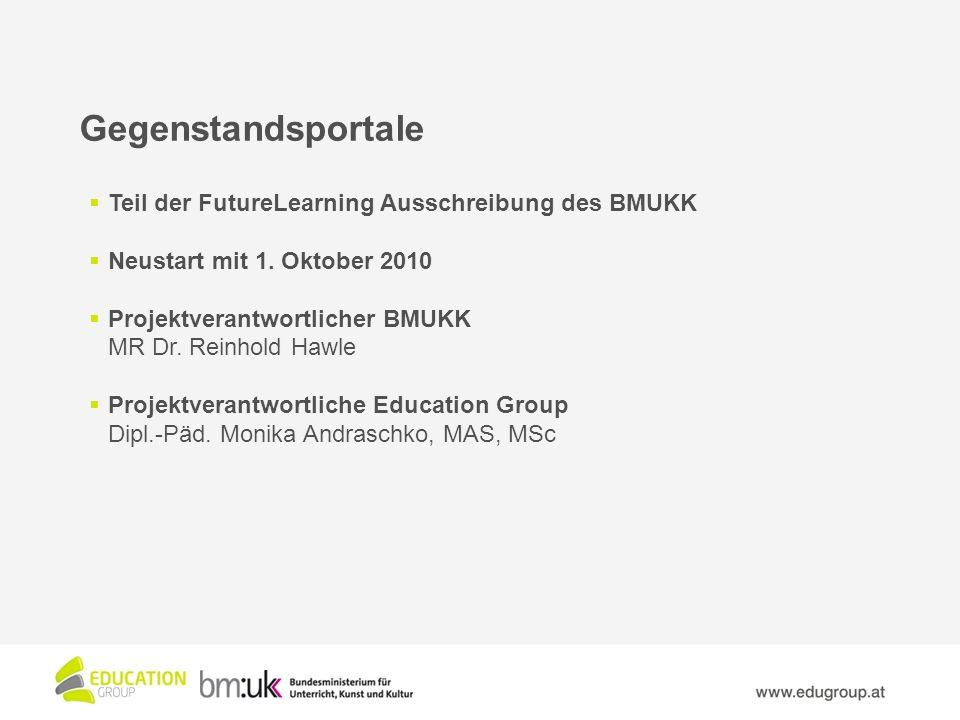Gegenstandsportale Teil der FutureLearning Ausschreibung des BMUKK Neustart mit 1.
