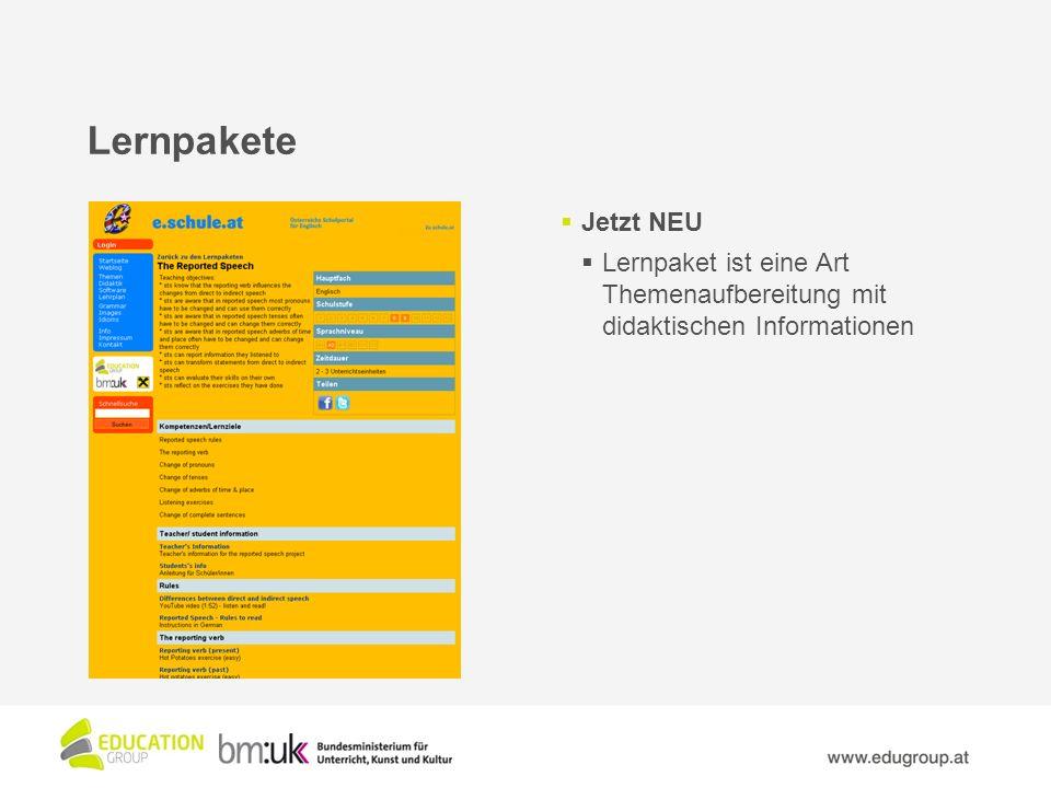 Lernpakete Jetzt NEU Lernpaket ist eine Art Themenaufbereitung mit didaktischen Informationen
