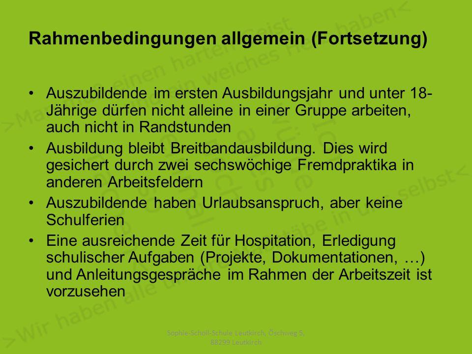 Eckpunkte der Organisation an der Sophie-Scholl-Schule Leutkirch Unterrichtstage im ersten Jahr: Mittwoch und Donnerstag (weitere Festlegungen abhängig von der Entwicklung) Zusätzlich ca.