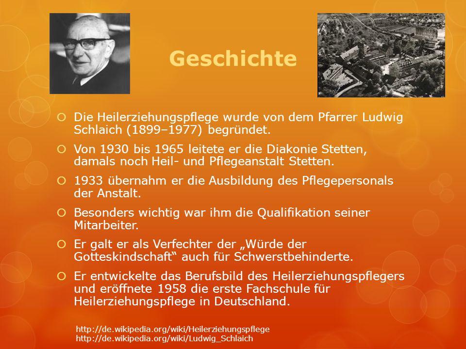Geschichte Die Heilerziehungspflege wurde von dem Pfarrer Ludwig Schlaich (1899–1977) begründet. Von 1930 bis 1965 leitete er die Diakonie Stetten, da