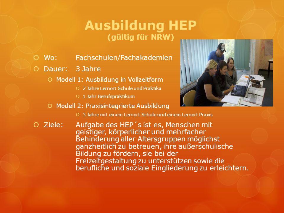Ausbildung HEP (gültig für NRW) Wo:Fachschulen/Fachakademien Dauer: 3 Jahre Modell 1: Ausbildung in Vollzeitform 2 Jahre Lernort Schule und Praktika 1