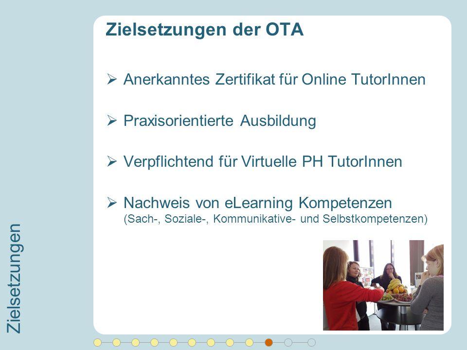 Zielsetzungen Zielsetzungen der OTA Anerkanntes Zertifikat für Online TutorInnen Praxisorientierte Ausbildung Verpflichtend für Virtuelle PH TutorInne