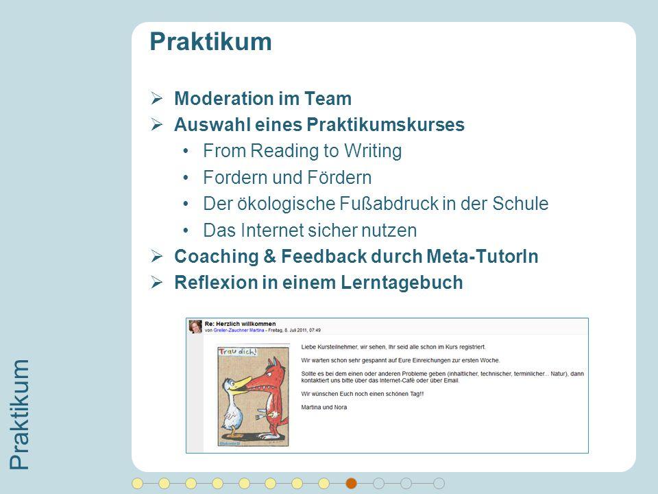 Praktikum Moderation im Team Auswahl eines Praktikumskurses From Reading to Writing Fordern und Fördern Der ökologische Fußabdruck in der Schule Das I