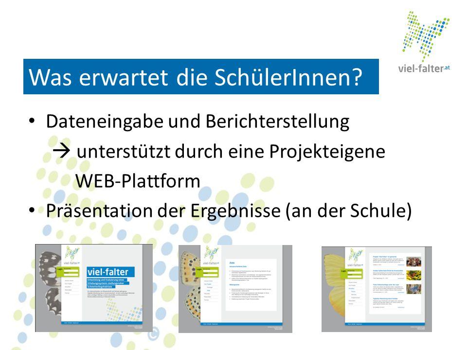 Was erwartet die SchülerInnen? Dateneingabe und Berichterstellung unterstützt durch eine Projekteigene WEB-Plattform Präsentation der Ergebnisse (an d