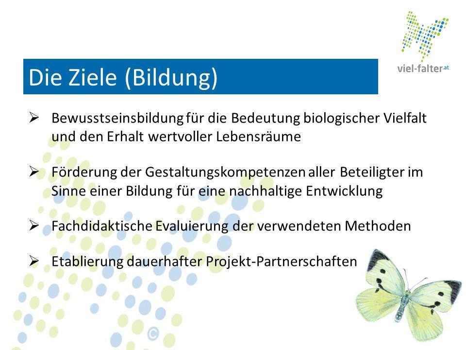 Die Ziele (Bildung) Bewusstseinsbildung für die Bedeutung biologischer Vielfalt und den Erhalt wertvoller Lebensräume Förderung der Gestaltungskompete