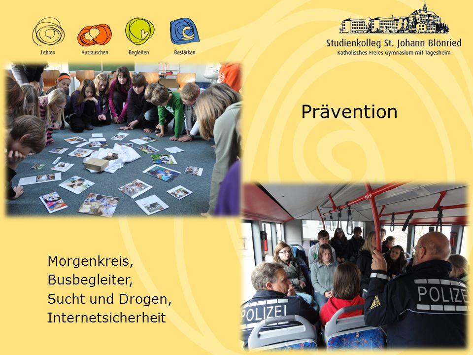 Prävention Morgenkreis, Busbegleiter, Sucht und Drogen, Internetsicherheit
