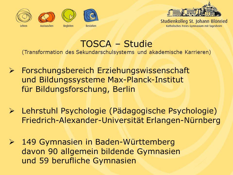 TOSCA – Studie (Transformation des Sekundarschulsystems und akademische Karrieren) Forschungsbereich Erziehungswissenschaft und Bildungssysteme Max-Pl
