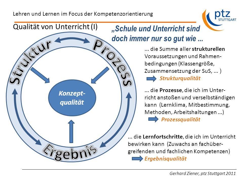 Gerhard Ziener, ptz Stuttgart 2011 Lehren und Lernen im Focus der Kompetenzorientierung Konzept- qualität Qualität von Unterricht (I)... die Summe all