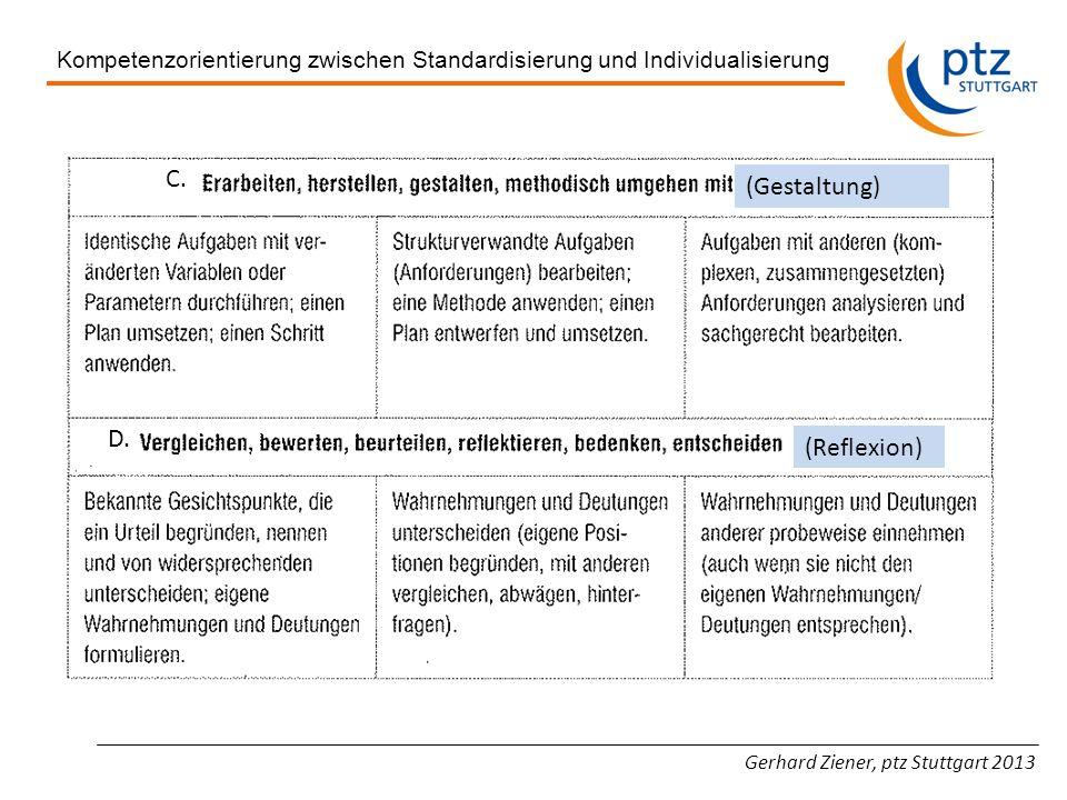 Gerhard Ziener, ptz Stuttgart 2013 Kompetenzorientierung zwischen Standardisierung und Individualisierung C. D. (Reflexion) (Gestaltung)