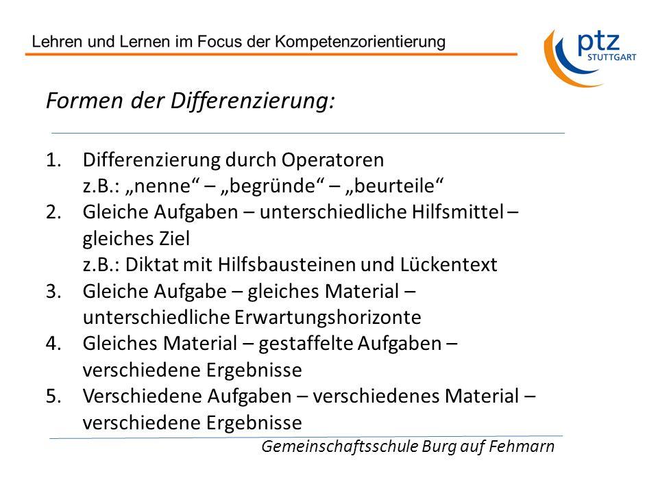 Formen der Differenzierung: 1.Differenzierung durch Operatoren z.B.: nenne – begründe – beurteile 2.Gleiche Aufgaben – unterschiedliche Hilfsmittel –