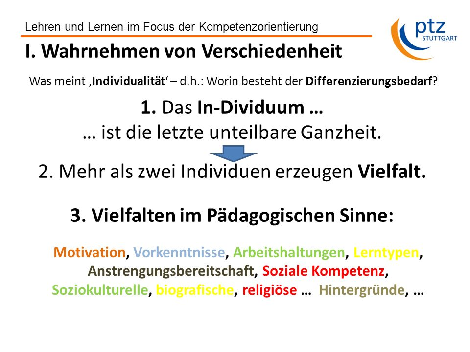 Gerhard Ziener, ptz Stuttgart 2011 Lehren und Lernen im Focus der Kompetenzorientierung Konzept- qualität Qualität von Unterricht (I)...