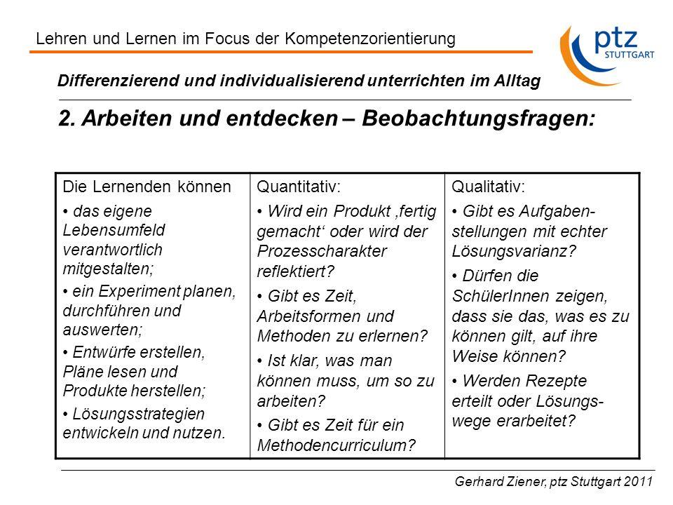 Gerhard Ziener, ptz Stuttgart 2011 Differenzierend und individualisierend unterrichten im Alltag 2. Arbeiten und entdecken – Beobachtungsfragen: Die L