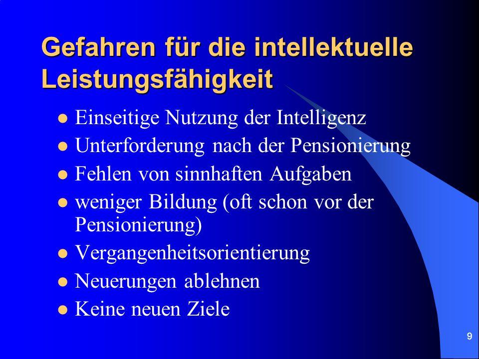9 Gefahren für die intellektuelle Leistungsfähigkeit Einseitige Nutzung der Intelligenz Unterforderung nach der Pensionierung Fehlen von sinnhaften Au
