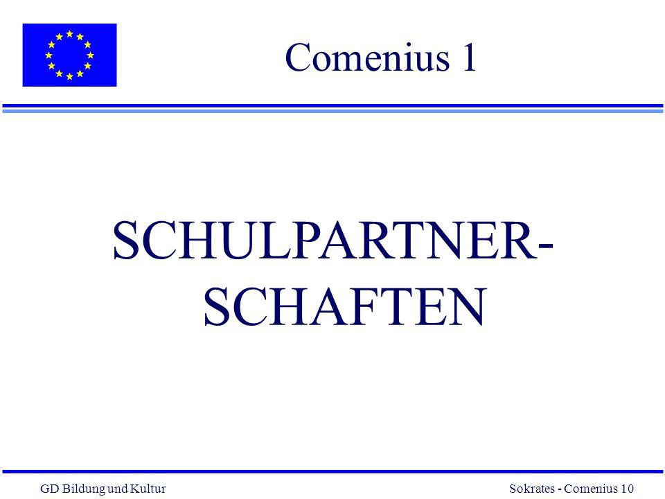 GD Bildung und Kultur Sokrates - Comenius 10 10 Comenius 1 SCHULPARTNER- SCHAFTEN