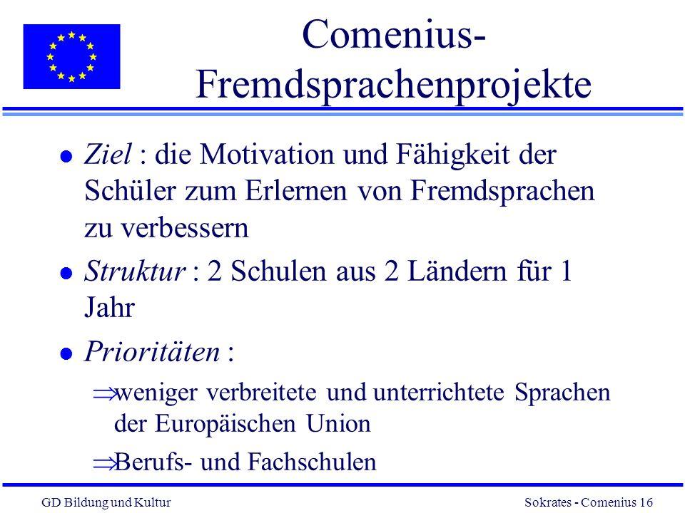 GD Bildung und Kultur Sokrates - Comenius 16 16 Comenius- Fremdsprachenprojekte l Ziel : die Motivation und Fähigkeit der Schüler zum Erlernen von Fremdsprachen zu verbessern l Struktur : 2 Schulen aus 2 Ländern für 1 Jahr l Prioritäten : weniger verbreitete und unterrichtete Sprachen der Europäischen Union Berufs- und Fachschulen