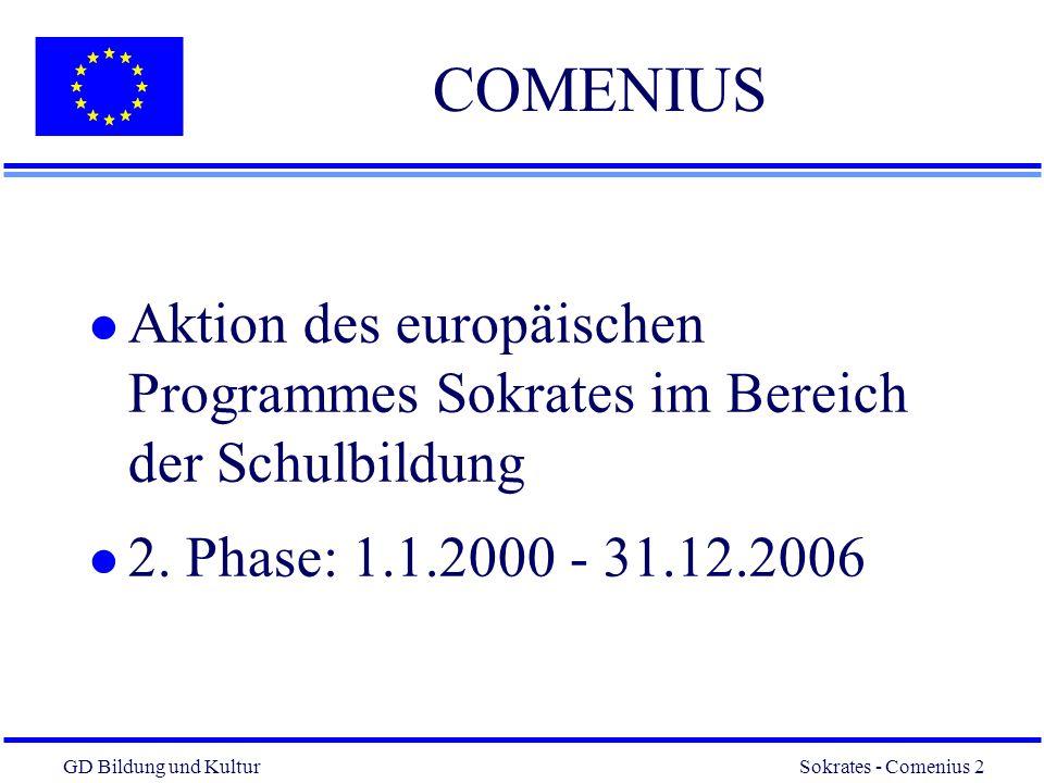 GD Bildung und Kultur Sokrates - Comenius 2 2 COMENIUS l Aktion des europäischen Programmes Sokrates im Bereich der Schulbildung l 2.
