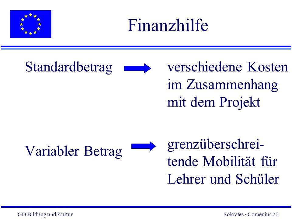 GD Bildung und Kultur Sokrates - Comenius 20 20 Finanzhilfe Standardbetrag Variabler Betrag verschiedene Kosten im Zusammenhang mit dem Projekt grenzüberschrei- tende Mobilität für Lehrer und Schüler