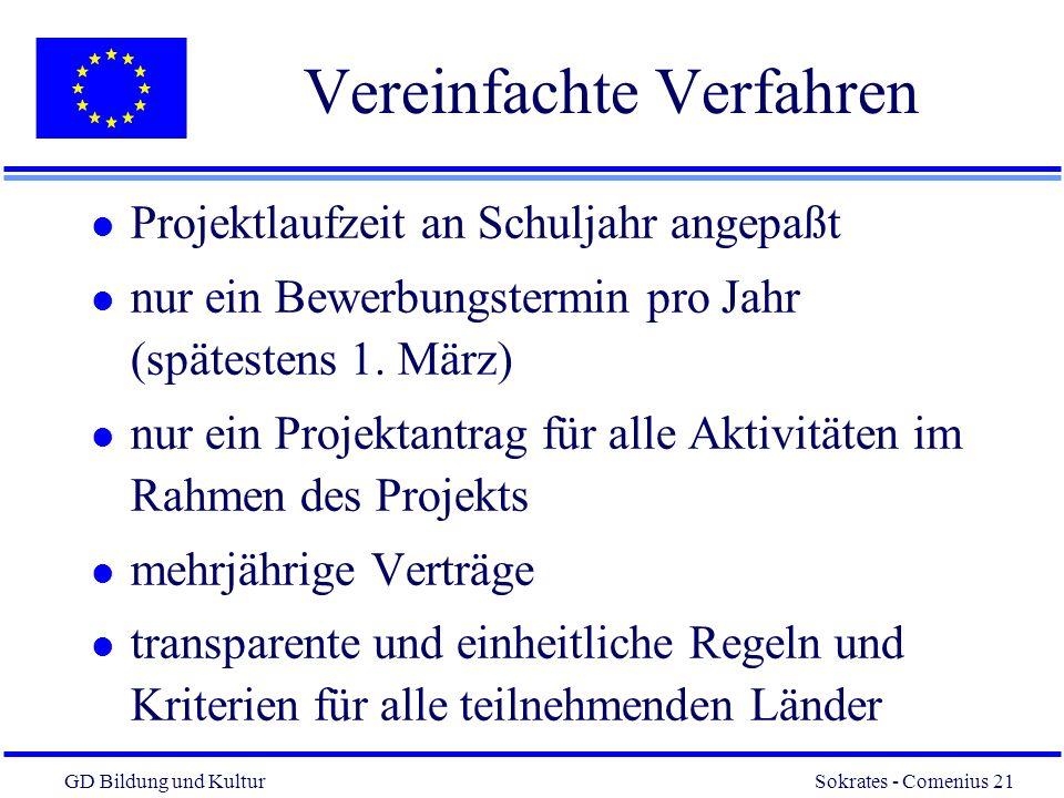 GD Bildung und Kultur Sokrates - Comenius 21 21 Vereinfachte Verfahren l Projektlaufzeit an Schuljahr angepaßt l nur ein Bewerbungstermin pro Jahr (spätestens 1.