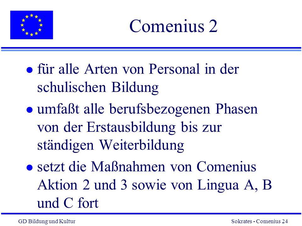 GD Bildung und Kultur Sokrates - Comenius 24 24 Comenius 2 l für alle Arten von Personal in der schulischen Bildung l umfaßt alle berufsbezogenen Phasen von der Erstausbildung bis zur ständigen Weiterbildung l setzt die Maßnahmen von Comenius Aktion 2 und 3 sowie von Lingua A, B und C fort