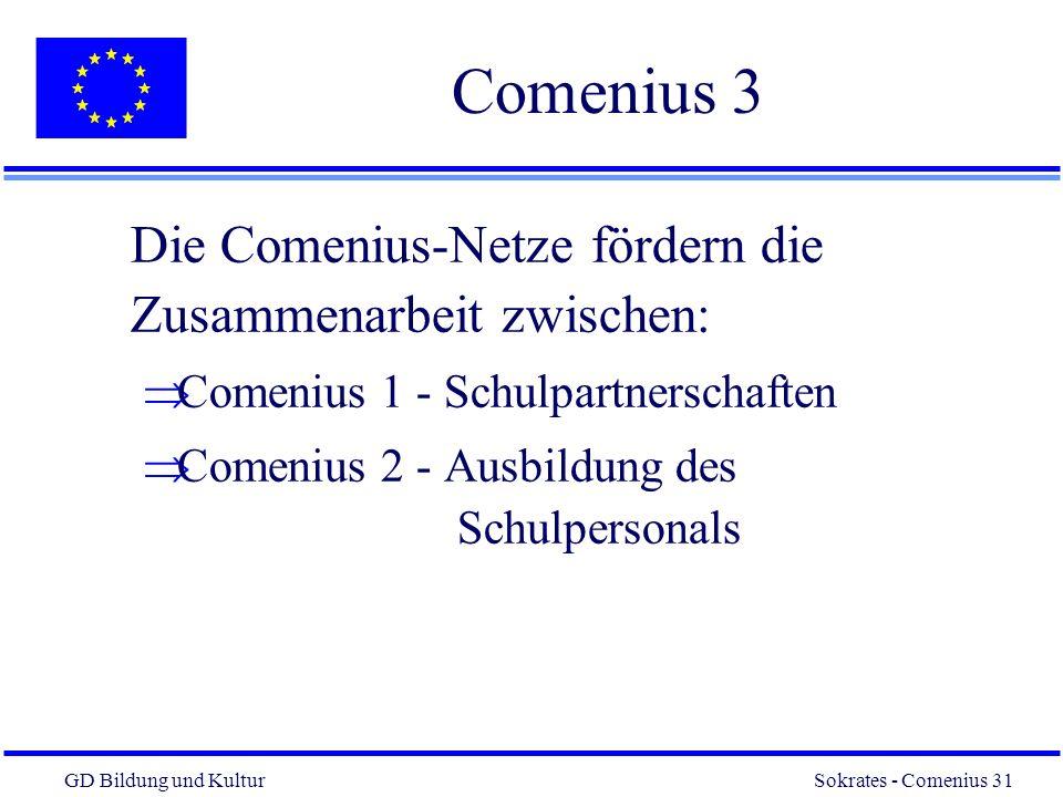 GD Bildung und Kultur Sokrates - Comenius 31 31 Comenius 3 Die Comenius-Netze fördern die Zusammenarbeit zwischen: Comenius 1 - Schulpartnerschaften Comenius 2 - Ausbildung des Schulpersonals