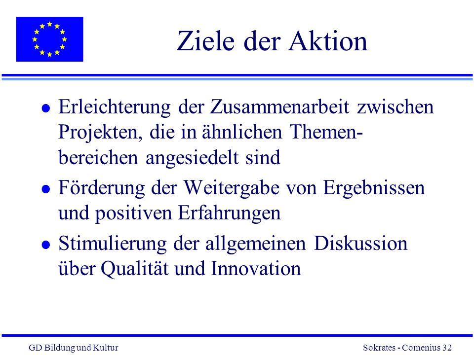 GD Bildung und Kultur Sokrates - Comenius 32 32 Ziele der Aktion l Erleichterung der Zusammenarbeit zwischen Projekten, die in ähnlichen Themen- bereichen angesiedelt sind l Förderung der Weitergabe von Ergebnissen und positiven Erfahrungen l Stimulierung der allgemeinen Diskussion über Qualität und Innovation