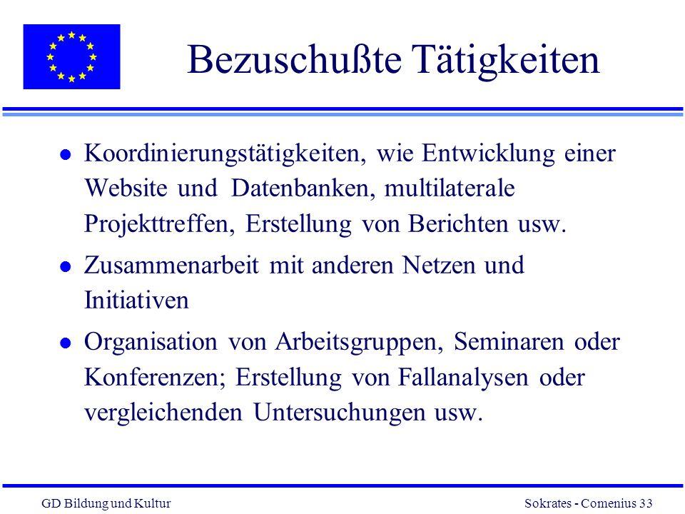 GD Bildung und Kultur Sokrates - Comenius 33 33 Bezuschußte Tätigkeiten l Koordinierungstätigkeiten, wie Entwicklung einer Website und Datenbanken, multilaterale Projekttreffen, Erstellung von Berichten usw.