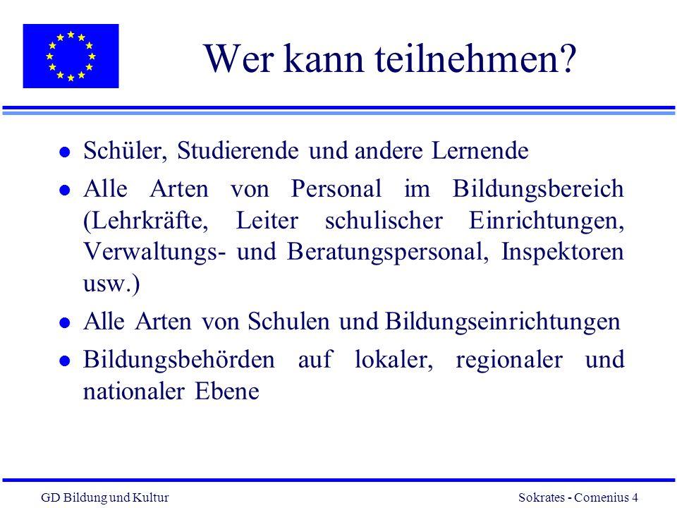 GD Bildung und Kultur Sokrates - Comenius 4 4 Wer kann teilnehmen.