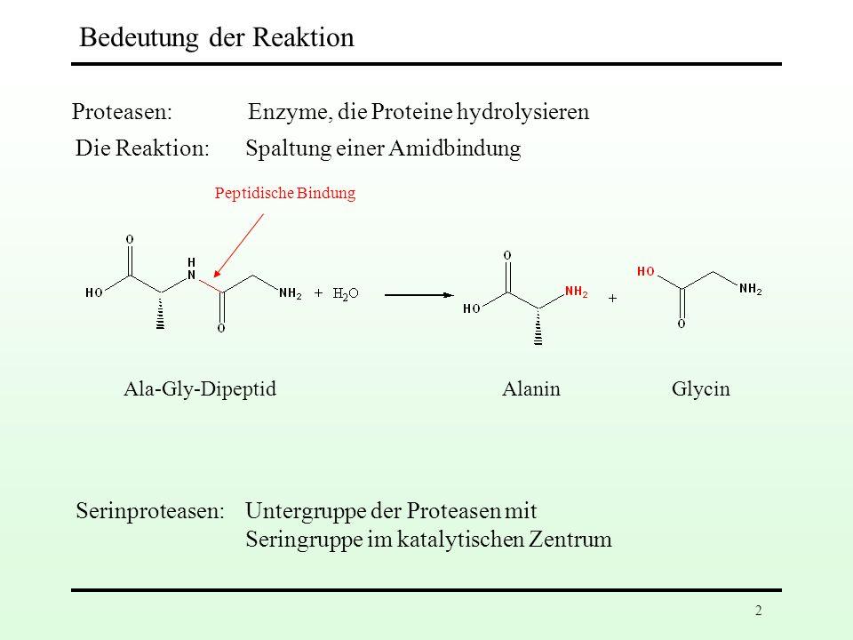 2 Bedeutung der Reaktion Proteasen: Enzyme, die Proteine hydrolysieren Serinproteasen: Untergruppe der Proteasen mit Seringruppe im katalytischen Zentrum Die Reaktion: Spaltung einer Amidbindung Ala-Gly-Dipeptid Peptidische Bindung AlaninGlycin