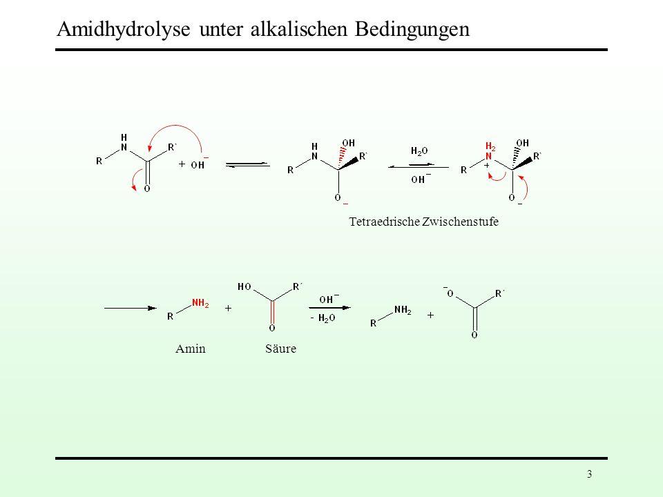 3 Amidhydrolyse unter alkalischen Bedingungen Tetraedrische Zwischenstufe AminSäure