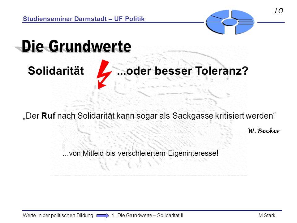 Studienseminar Darmstadt – UF Politik Werte in der politischen Bildung 1. Die Grundwerte – Solidarität II M.Stark Solidarität...oder besser Toleranz?