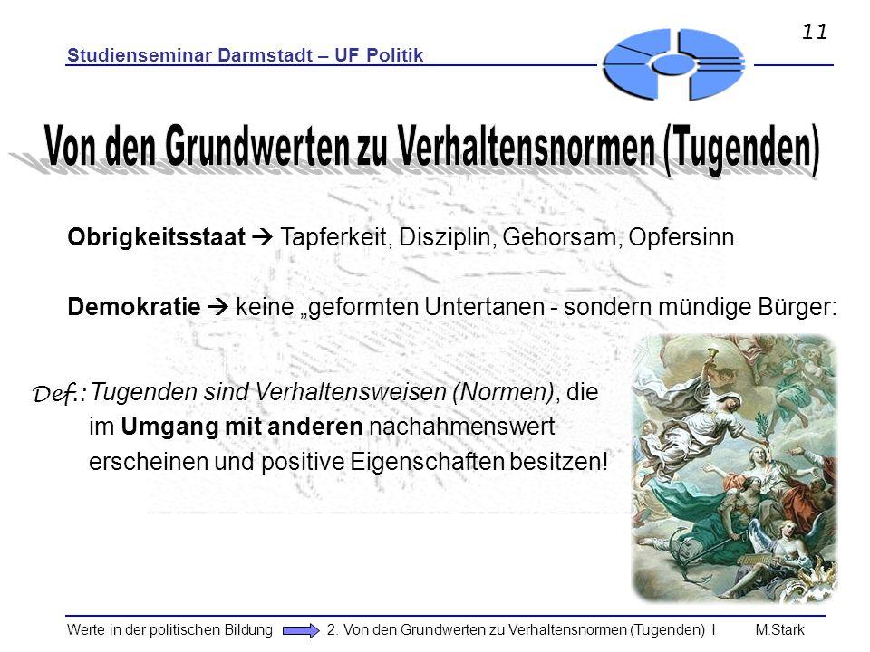 Studienseminar Darmstadt – UF Politik Werte in der politischen Bildung 2. Von den Grundwerten zu Verhaltensnormen (Tugenden) I M.Stark Obrigkeitsstaat