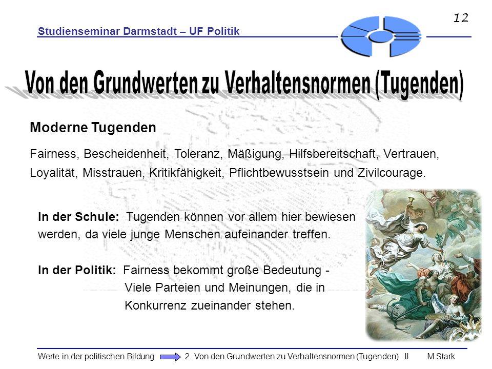 Studienseminar Darmstadt – UF Politik Werte in der politischen Bildung 2. Von den Grundwerten zu Verhaltensnormen (Tugenden) II M.Stark Moderne Tugend