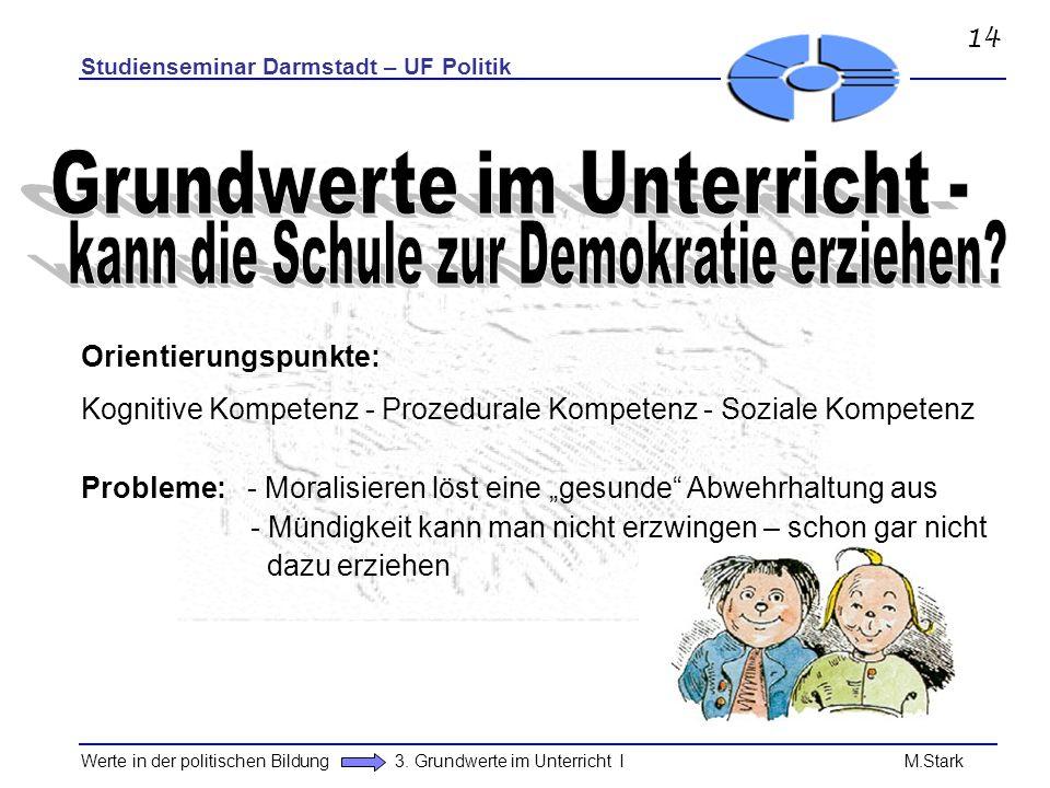 Studienseminar Darmstadt – UF Politik Werte in der politischen Bildung 3. Grundwerte im Unterricht I M.Stark Orientierungspunkte: Kognitive Kompetenz