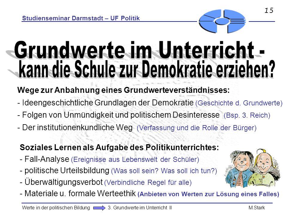 Studienseminar Darmstadt – UF Politik Werte in der politischen Bildung 3. Grundwerte im Unterricht II M.Stark Wege zur Anbahnung eines Grundwerteverst